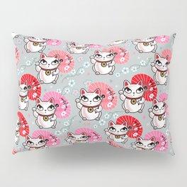 Kyoto Kitty on Grey Pillow Sham