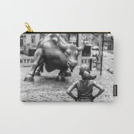 Fearless Girl & Charging Bull in the rain Carry-All Pouch