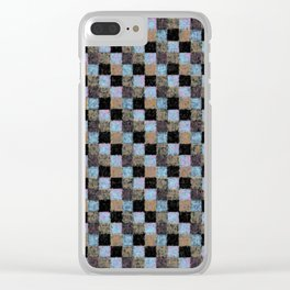 Rustic Brown Multicolored Black Patchwork Clear iPhone Case