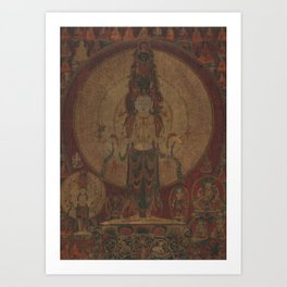 Eleven-Headed, Thousand-Armed Bodhisattva of Compassion 16th Century Classical Tibetan Buddhist Art Art Print