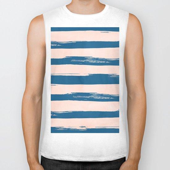 Trendy Stripes - Sweet Peach Coral on Saltwater Taffy Teal Biker Tank