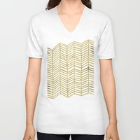 vintage V-neck T-shirts featuring Gold Herringbone by Cat Coquillette