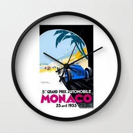 1933 Monaco Grand Prix Race Poster  Wall Clock