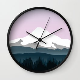 Mount Hood Forest - Pink Haze Wall Clock