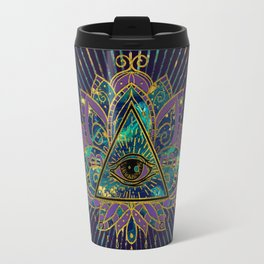 All Seeing Mystic Eye in Lotus Flower Travel Mug