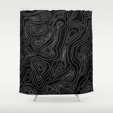 Ocean depth map - black Shower Curtain