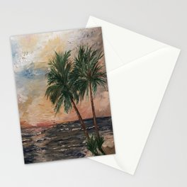 Beach Side  Oil on Canvas Stationery Cards