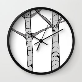 Poplar Tree Illustration Wall Clock