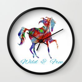 OLena Art Colorful Horse Design Wild and Free Wall Clock