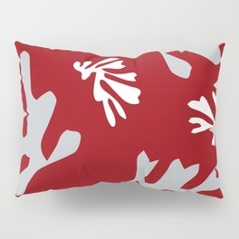 Matisse Silver & Red Holiday Leaves Pillow Sham