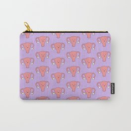 Patterned Happy Uterus in Purple Carry-All Pouch