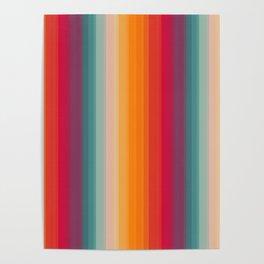 Retro Rainbow Striped Pattern Poster