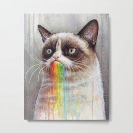 Cat Tastes the Grumpy Rainbow | Watercolor Painting Metal Print