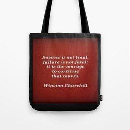 Winston Churchill Success Quote Tote Bag