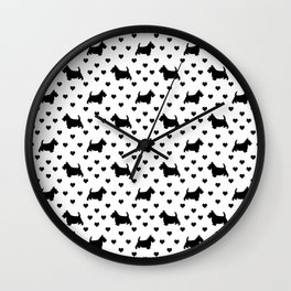 Cute Black Scottish Terriers (Scottie Dogs) & Hearts on White Background Wall Clock