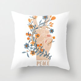 Peace Sign With Orange Flowers, Blue Flowers And Vines Throw Pillow