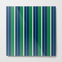 Navy Aqua Green White Preppy Stripes Metal Print