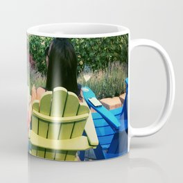 Sitting in Colorful Chairs Overlooking Vineyard  Coffee Mug