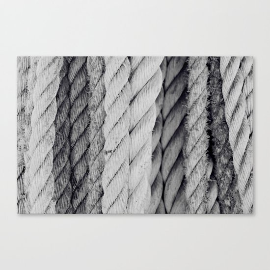Ropes Black and White Nautical Canvas Print