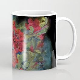 The flowering quince . Black background Coffee Mug