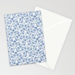 Pretty Indigo Blue and White Ethnic Floral Print Stationery Cards