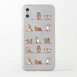 English Bulldog Yoga Clear iPhone Case