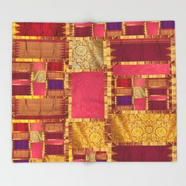 """""""Exotic fabric, ethnic and bohemian style, patches"""" Throw Blanket"""