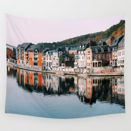 VILLAGE - HOUSE - RIVER - REFLECTION - PHOTOGRAPHY Wall Tapestry