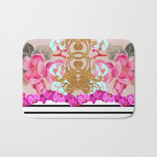 Fashion Girly Pink Vintage Floral Trendy Stripes Pattern Bath Mat