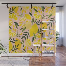 Lemon Blooms – Blush Palette Wall Mural