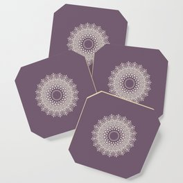 Mandala in Mulberry and White Coaster