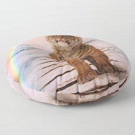 A tiger on the Rainbow Bridge Floor Pillow