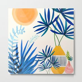 Blue Morocco Whimsy - Sunny Garden Art Metal Print