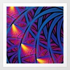 Under The Blue Palm Art Print