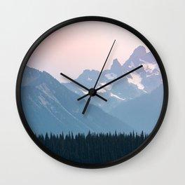 Pink Cascades - Mountain Nature Landscape Photography Wall Clock