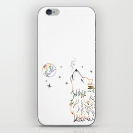 Wolf howling on moon sketch iPhone Skin