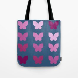 Butterflies in Purple Ombre with Dark Blue Background Tote Bag