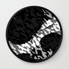 Black gray and White Camouflage Abstract Wall Clock