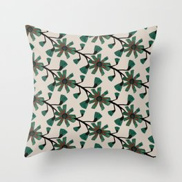 Flowers in green Throw Pillow