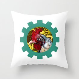 Steampunk Rooster Throw Pillow