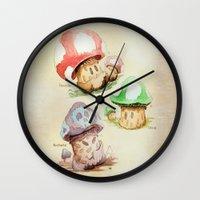 mario kart Wall Clocks featuring Mario Mushrooms Botanical Illustration by 84Nerd