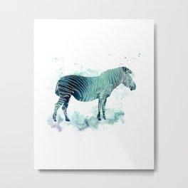 Zebra Watercolor Silhouette Animal Metal Print