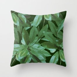 Southern Girl, Southern Magnolia Leaves, Dark Green Throw Pillow