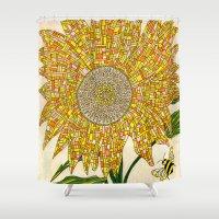 georgia Shower Curtains featuring Georgia Sunflower by valerie lorimer