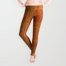Bright Orange Floral Patchwork Leggings
