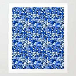 Chinese Symbols in Blue Porcelain Kunstdrucke