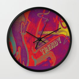 Cool TRENDY script graffiti style print in bold mauve purple, orange tangerine, yellow, teal and red Wall Clock