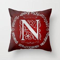 Joshua 24:15 - (Silver on Red) Monogram N Throw Pillow