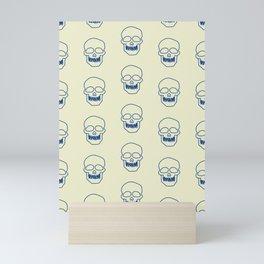 Blue skulls pattern Mini Art Print