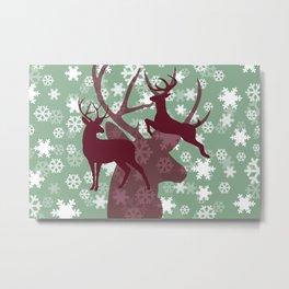Reindeer silhouette red snowflakes green Metal Print